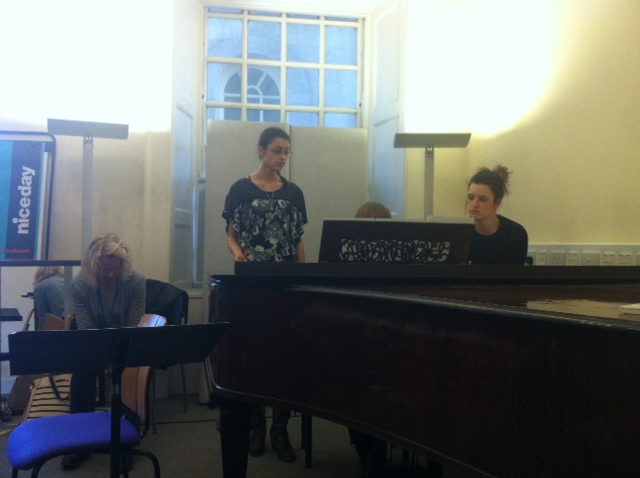 Suzie, Melanie and the pianists performing the Gabrielle Aplin song 'Home'